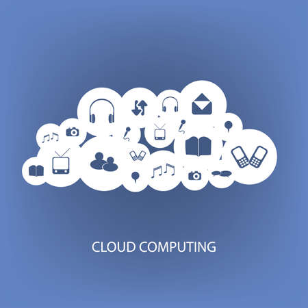 telecomm: Cloud Computing Concept With Different Icons Illustration
