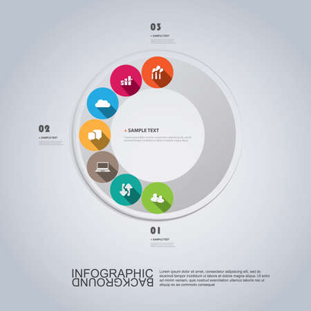 ring road: Infographic Design Template With Colorful Icons Illustration