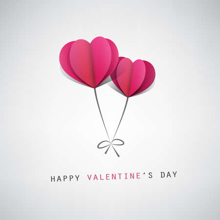 card design: Valentines Day Card Design Template With Heart Shaped Balloons