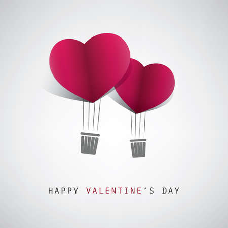 love card: Valentines Day Card Design Template With Heart Shaped Balloons