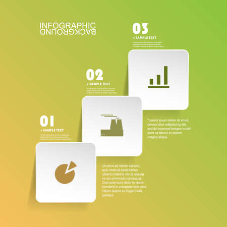 color chart: Minimal Paper Cut Infographics Design - White Round Squares On Green Background