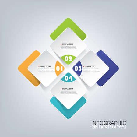 Colorful Paper Cut Minimal Infographies Design - Squares rondes Vecteurs