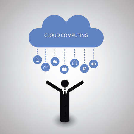 buisnessman: Cloud Computing Concept Design With Icons