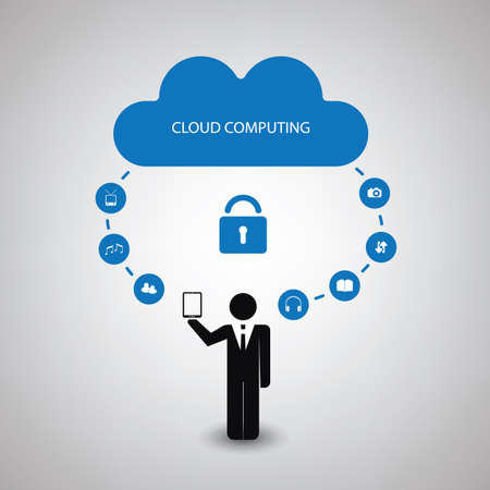 synchronizing: Cloud Computing Concept Design With Icons - Safe Synchronizing