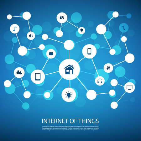 blue lines: White And Blue Network Design Concept With Icons - Internet Of Things