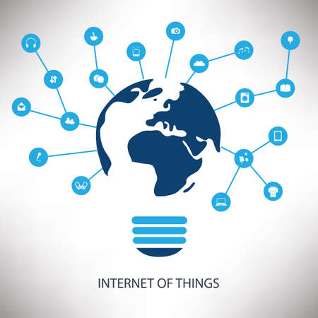 internet network: White And Blue Networking Concept Design With Earth Globe, Light Bulb And Various Icons - Internet Of Things Concept