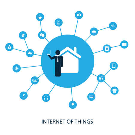 connected idea: Internet Of Things And Networks Concept Design