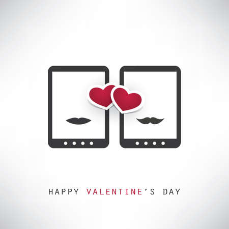 smart card: Happy Valentines Day Card With Smart Phones or Tablets Illustration