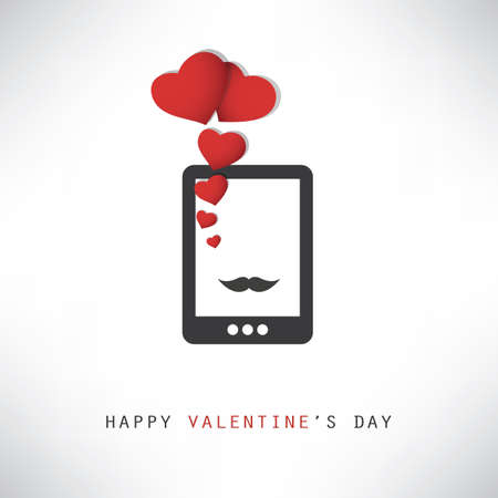 smart card: Happy Valentines Day Card With Smart Phone
