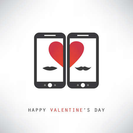 smart card: Happy Valentines Day Card With Smart Phones Illustration