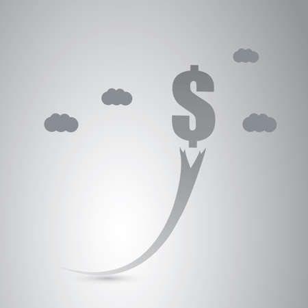 economy: Rising Dollar Sign - Economy  Growth or  Business Concept Design