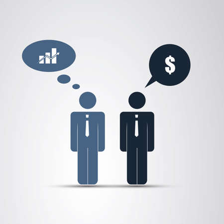 real leader: Cooperation - The Real Leader - Business Men Icon Illustration