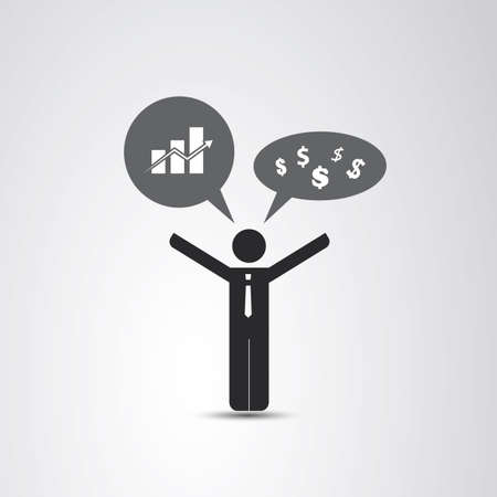 business leader: The Real Leader - Business Man Icon Illustration