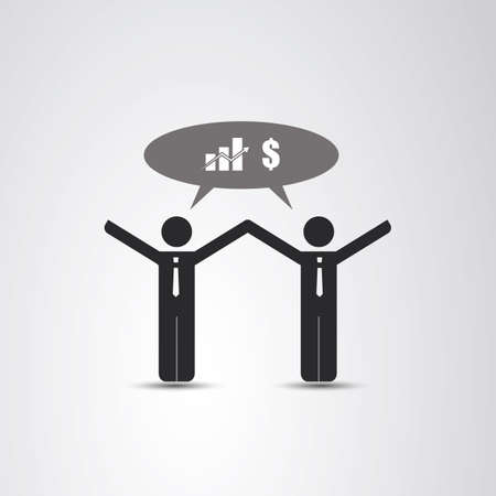 sharing: Cooperation - The Real Leader - Business Men Icon Illustration