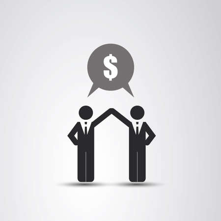 business leader: Cooperation - The Real Leader - Business Men Icon Illustration