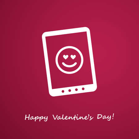 smart card: Happy Valentines Day Card With Smart Phone or Tablet