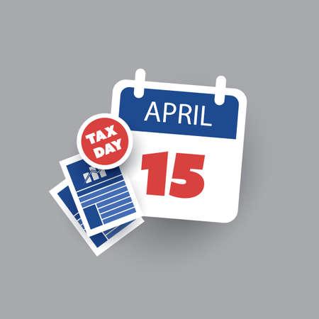 taxes: USA Tax Day Icon - Calendar Design Template