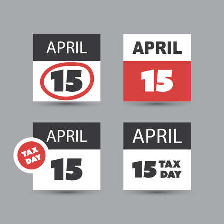 reckoning: USA Tax Day Icon Set - Calendar Design Template