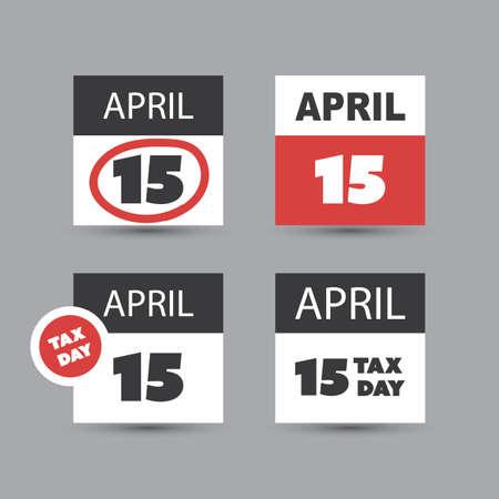 taxes: USA Tax Day Icon Set - Calendar Design Template