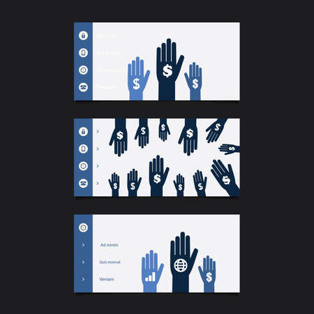 submenu: Web Design Elements - Header Design Set With Hands And Dollar Signs