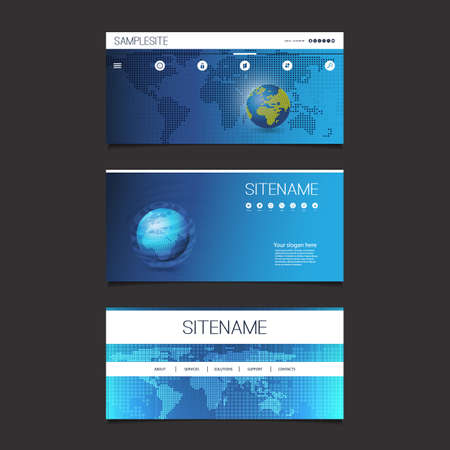 Web Design Elements - Header Design Set With Earth Globe