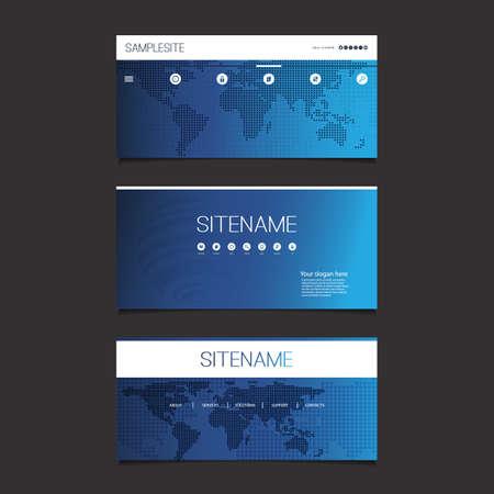web design elements: Web Design Elements - Header Design Set With Spotted World Map Illustration