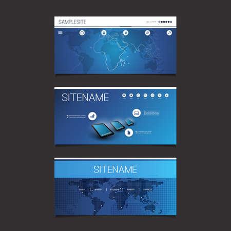 submenu: Web Design Elements - Header Design Set With World Map