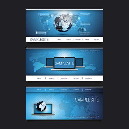 mobile website: Web Design Elements - Header Design Set