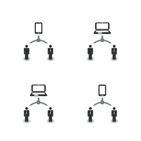 Redes, conexiones: Social, Negocios, Iconos de la tecnología