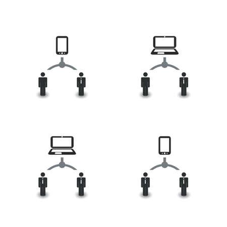 icono ordenador: Redes, conexiones: Social, Negocios, Iconos de la tecnología Vectores