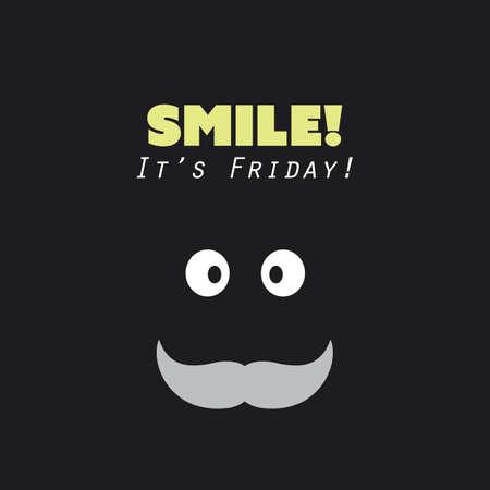 diversion: ¡Sonreír! ¡Es viernes! - Fin de semana está viniendo de fondo concepto de diseño con la cara divertida