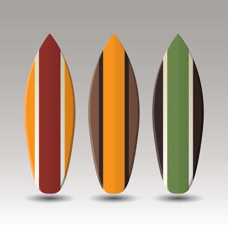 Vettore Tavole da surf Design Con Motivo ornamentale Striato