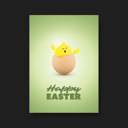 hatchling: Easter Greeting Card, Cover Background Template Design With Funny Little Chicken