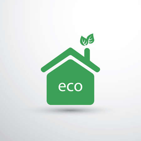 ecological: Eco House, Home Concept Design - House Icon With Leaves