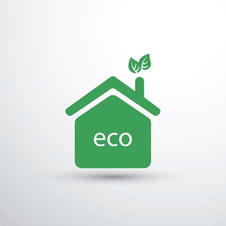 Eco House, Home Concept Design - Icono de la casa con las hojas