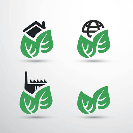 eco icon: Eco Icon Set - House, Factory, Earth Illustration