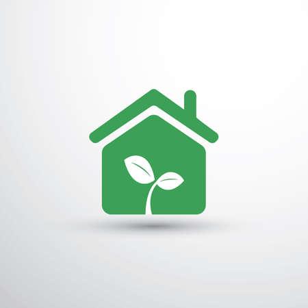 Eco House, Home Concept Design - Maison Icône avec des feuilles