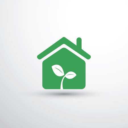 Eco House, Home Concept Design - House Icon With Leaves