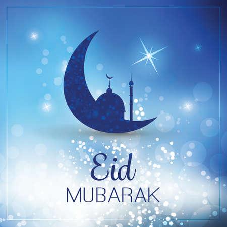 stars night: Eid Mubarak - Moon in the Sky - Greeting Card for Muslim Community Festival