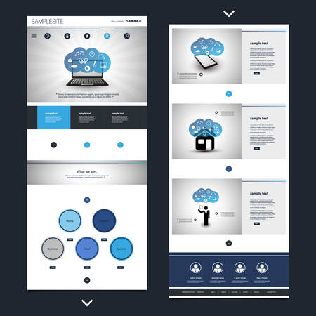 website header: One Page Website Template with Cloud Computing Theme, Header Designs