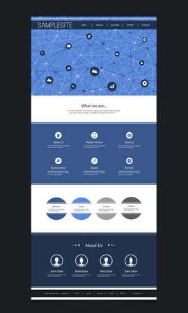 website header: Website Template Design With Header Design - Network Concept Background Illustration