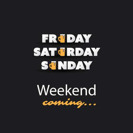 positiveness: Weekends Coming Banner With Beer Mug