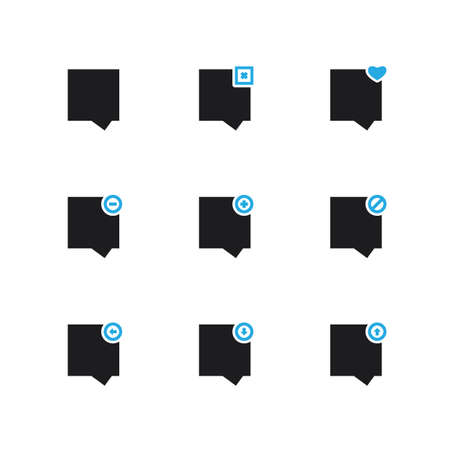 Speech Bubble or Chat Icon Set - Blue Series