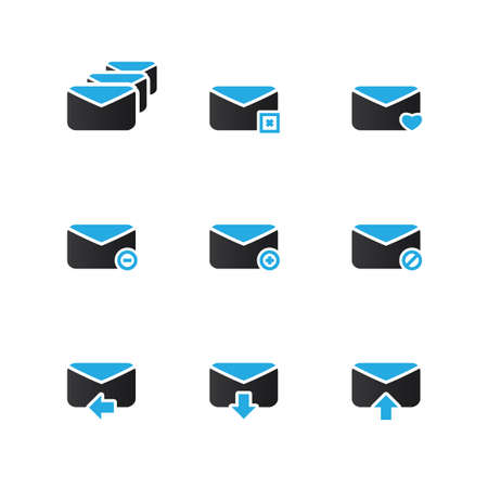 incoming: E-mail Icon Set - Blue Series Illustration