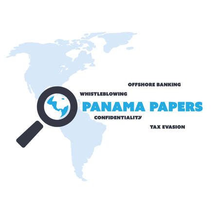 leaks: Panama Papers Concept Design - Tax Evasion and Offshore Banking - Investigation and Data Leaks Illustration