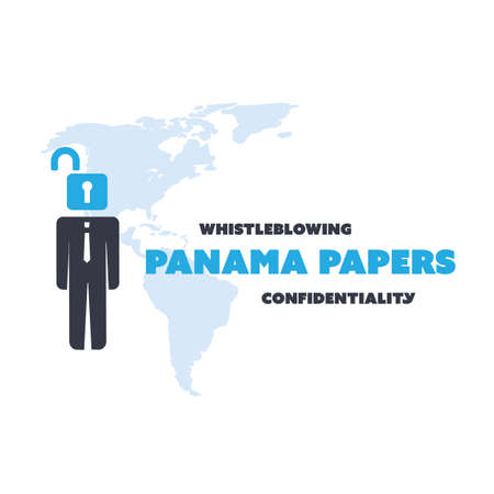 leaks: Panama Papers Concept Design - Whistleblowing and Confidentiality Problem Illustration
