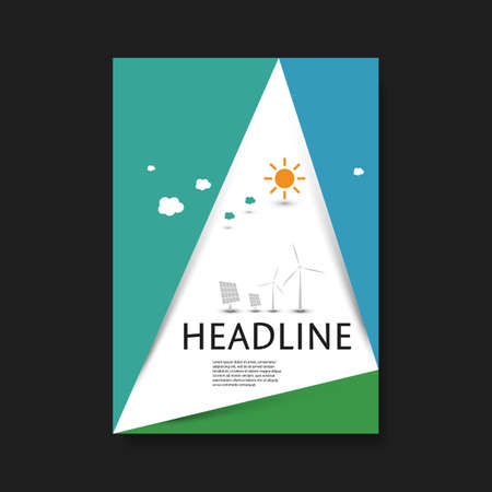 triangular shape: Eco Flyer Design Template - Triangular Shape, Paper Cut Style Background