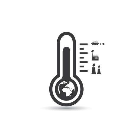 balanza de laboratorio: El calentamiento global, Problemas ecológicos y Soluciones - Termómetro del diseño del icono Concepto