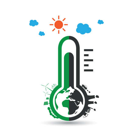 design solutions: Global Warming, Ecological Problems and Solutions - Thermometer Icon Design Concept