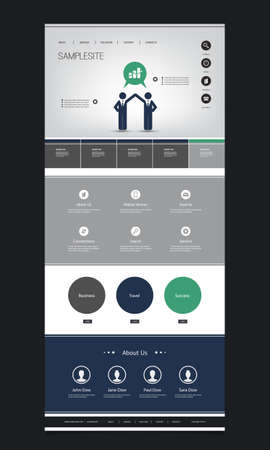 website header: One Page Website Template with Business Themed Header Illustration